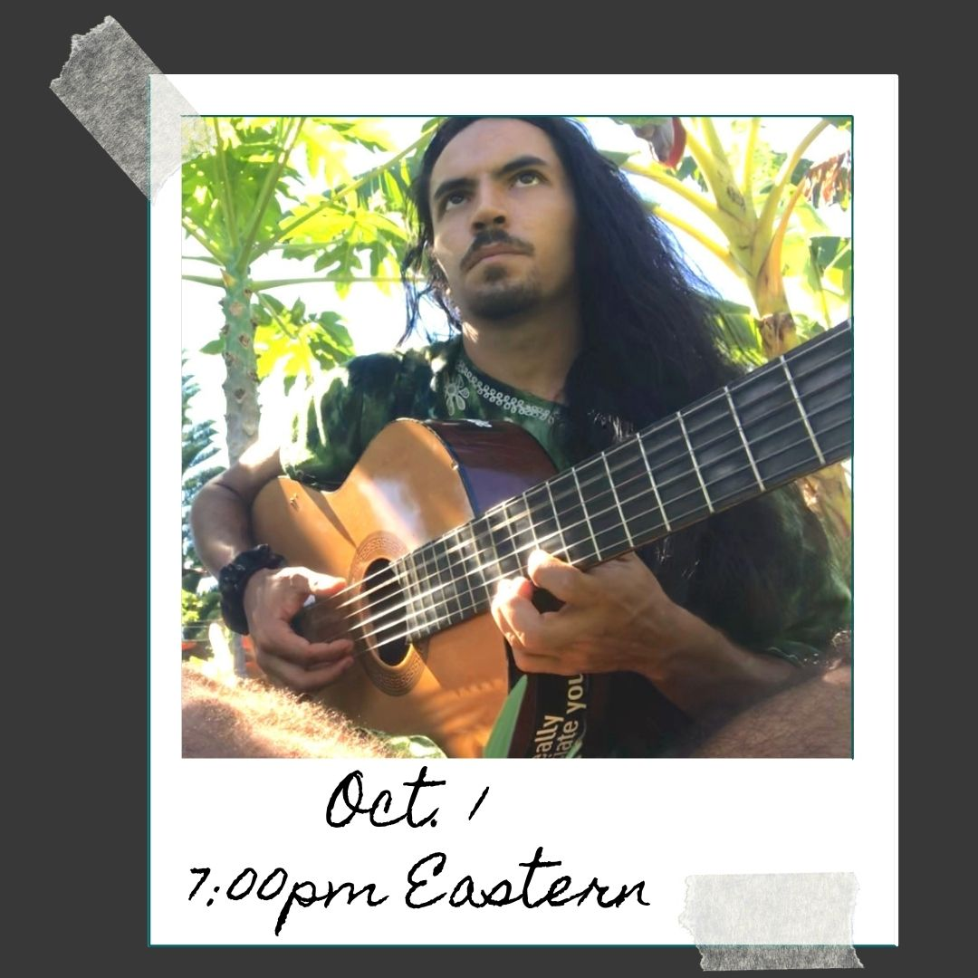 Image of Benji playing guitar outside. Oct. 1 7:00pm ET