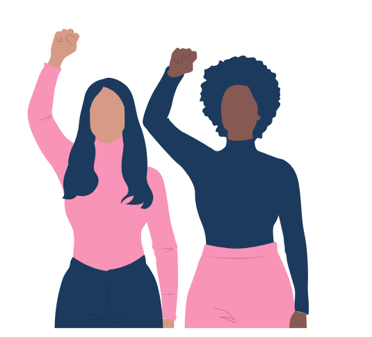 two illustrated people with fists in the air