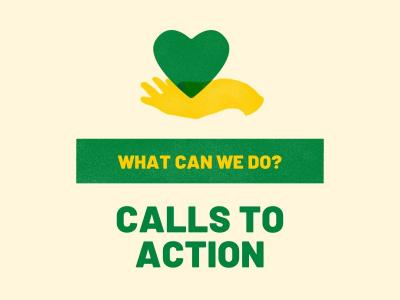 "Image of a hand holding a heart. ""Calls to Action"""