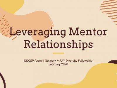 """Leveraging Mentor Relationships"" Words over a multi colored design"